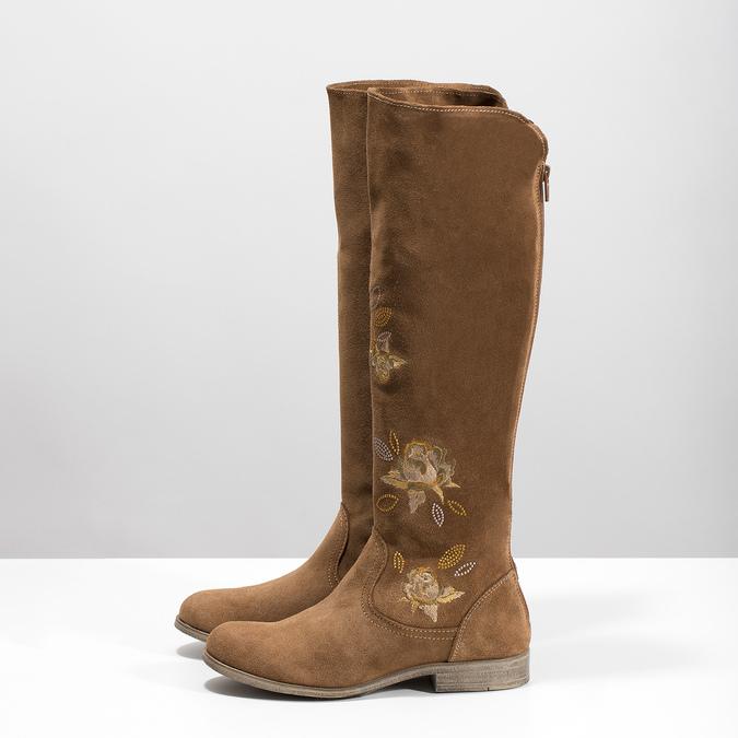 Skórzane kozaki zhaftem bata, brązowy, 596-4687 - 16