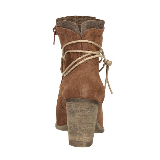 Skórzane botki zhaftem bata, brązowy, 696-4655 - 15