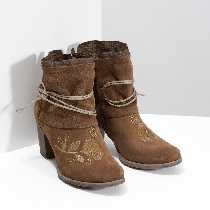 Skórzane botki zhaftem bata, brązowy, 696-4655 - 26