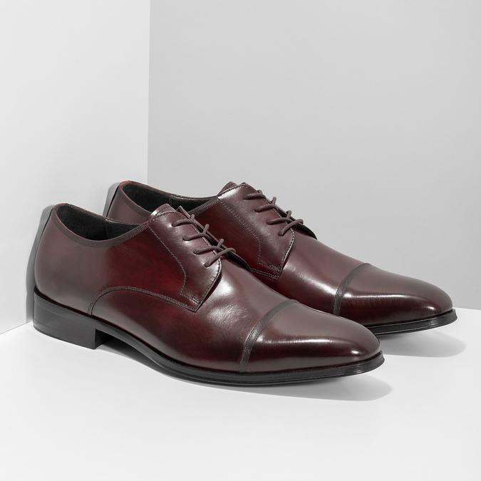 Bordowe półbuty ze skóry bata, czerwony, 826-5851 - 26