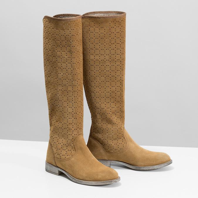 Perforowane kozaki damskie bata, brązowy, 596-4688 - 26
