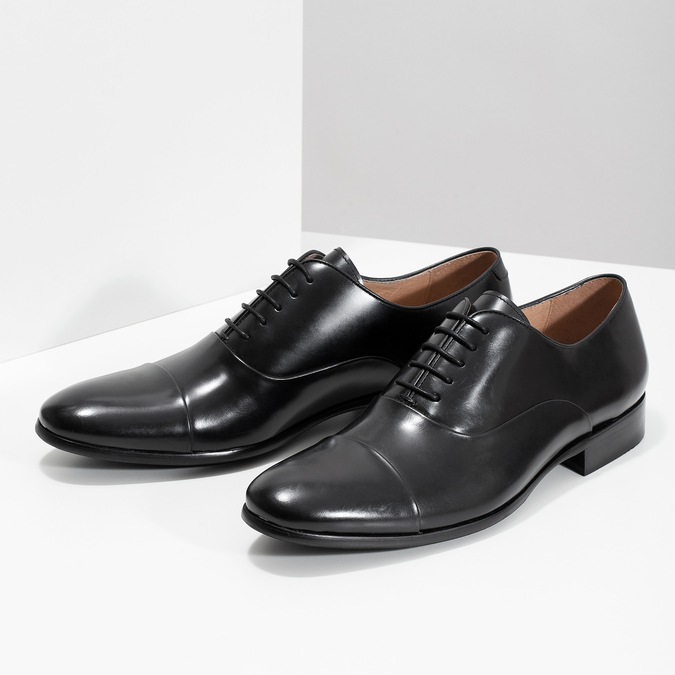 Czarne skórzane półbuty typu oksfordy bata, czarny, 824-6626 - 16
