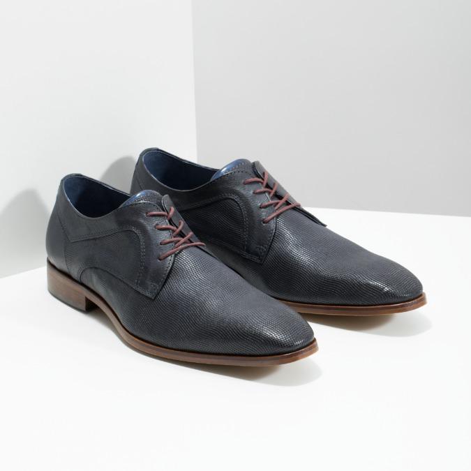 Granatowe skórzane półbuty zfakturą bata, niebieski, 826-9825 - 26