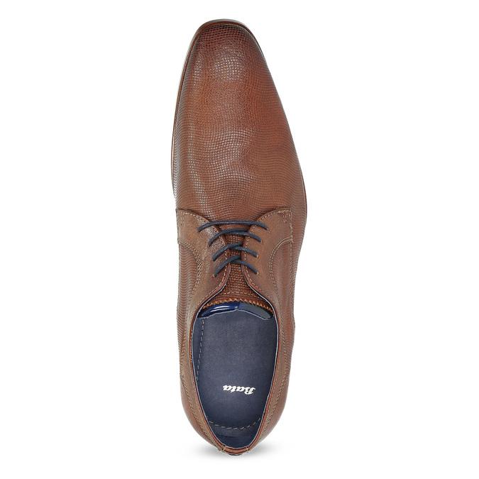 Skórzane półbuty męskie zfakturą bata, brązowy, 826-3825 - 17