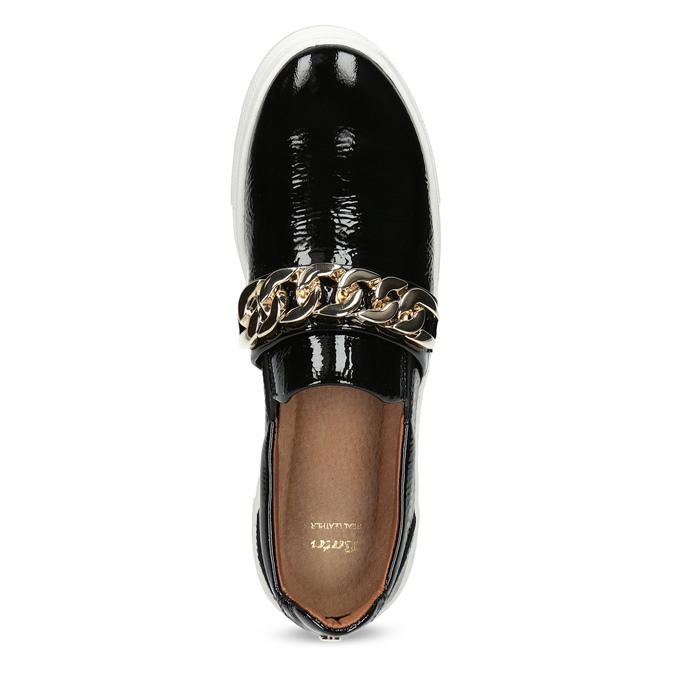 Skórzane obuwie typu slip-on na platformie bata, czarny, 518-6601 - 17