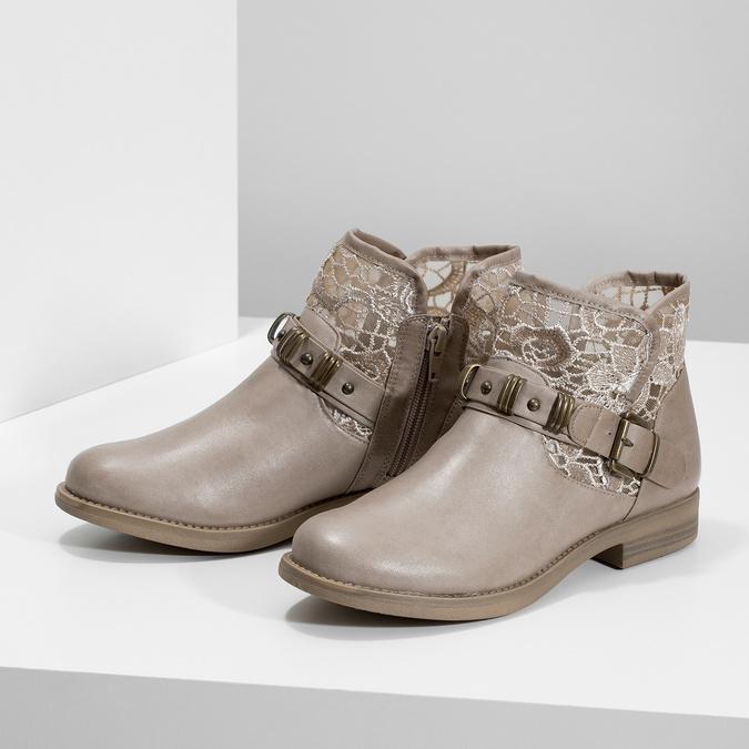 Kozaki damskie zkoronką bata, szary, 591-2628 - 16