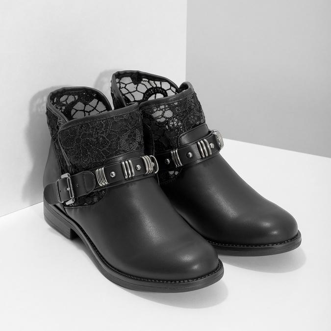 Czarne kozaki zkoronką bata, czarny, 591-6628 - 26