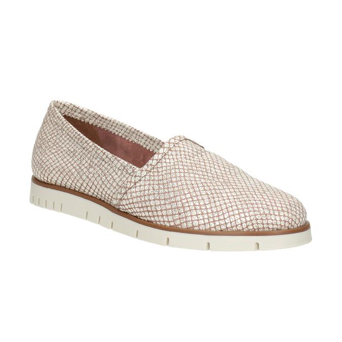 Skórzane obuwie damskie typu slip-on na kontrastowej podeszwie flexible, 536-5603 - 13