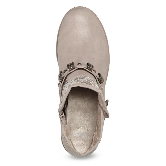 Kozaki damskie zkoronką bata, szary, 591-2628 - 17