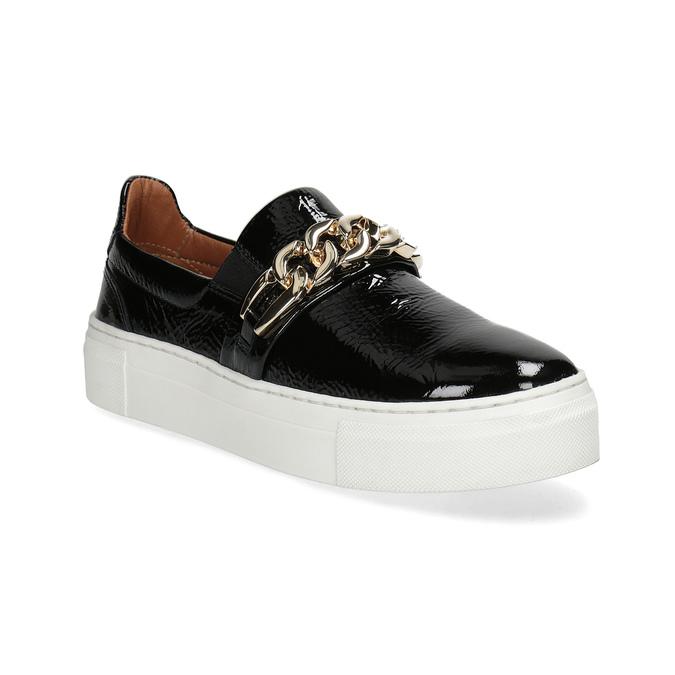 Skórzane obuwie typu slip-on na platformie bata, czarny, 518-6601 - 13