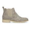 Skórzane botki zmetalowymi ćwiekami bata, szary, 596-2690 - 19