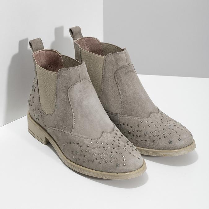 Skórzane botki zmetalowymi ćwiekami bata, szary, 596-2690 - 26