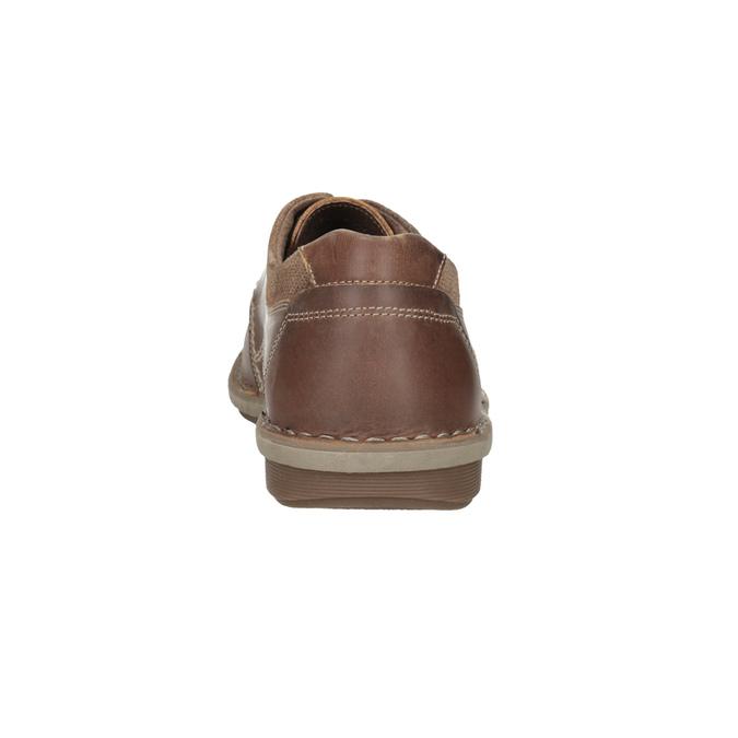 Brązowe skórzane półbuty męskie bata, brązowy, 826-4654 - 15