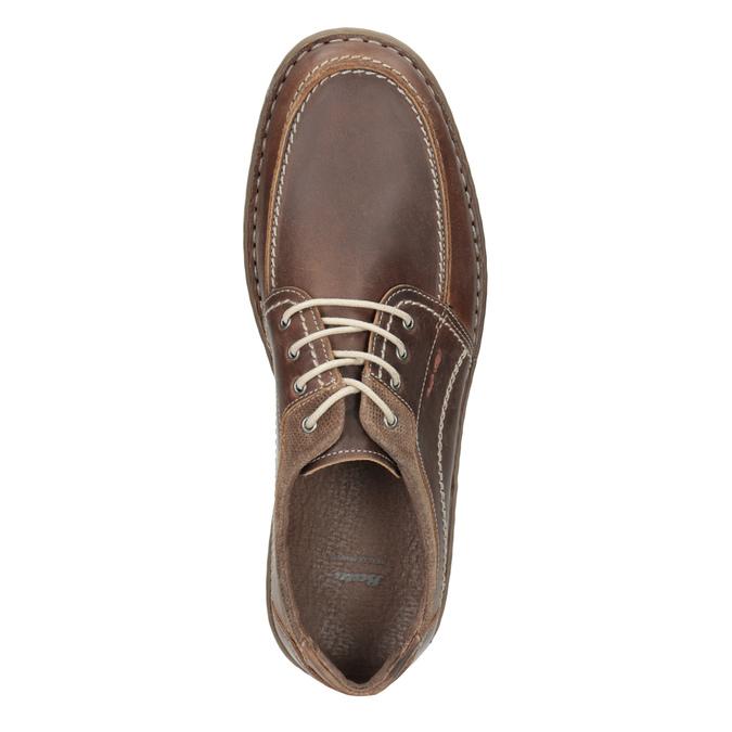 Brązowe skórzane półbuty męskie bata, brązowy, 826-4654 - 17