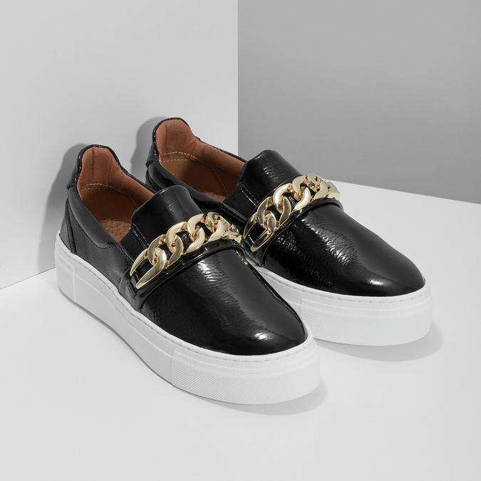Skórzane obuwie typu slip-on na platformie bata, czarny, 518-6601 - 26