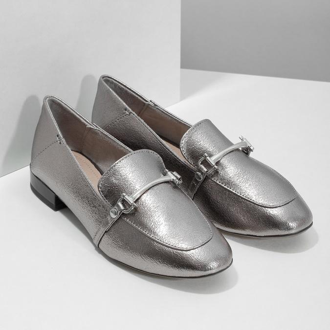 Srebrne mokasyny zwędzidłami bata, srebrny, 511-1609 - 26