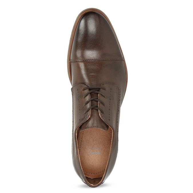 Skórzane półbuty męskie ze zdobieniami bata, brązowy, 826-4927 - 17