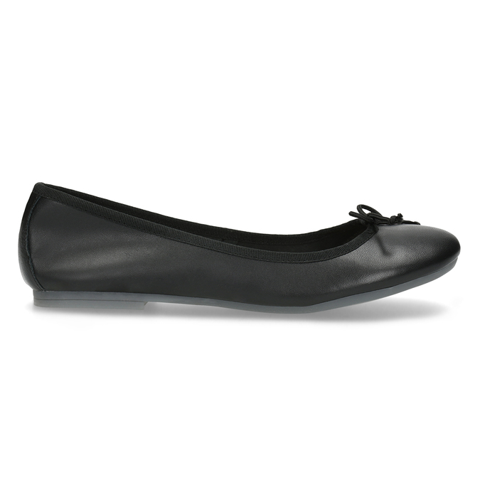 Czarne skórzane baleriny zkokardkami bata, czarny, 524-6144 - 19