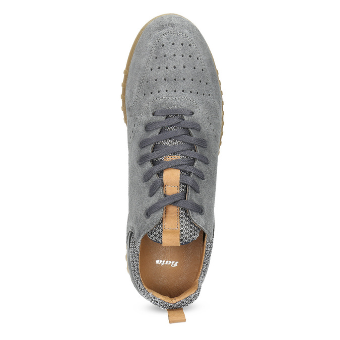 Szare zamszowe trampki męskie bata, szary, 843-2634 - 17