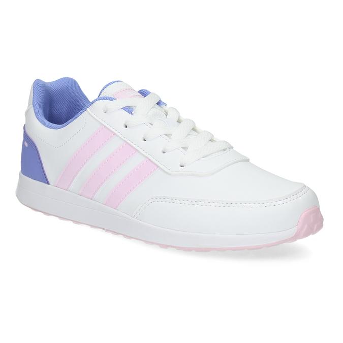 Białe trampki dziewczęce zróżowymi detalami adidas, biały, 401-1181 - 13