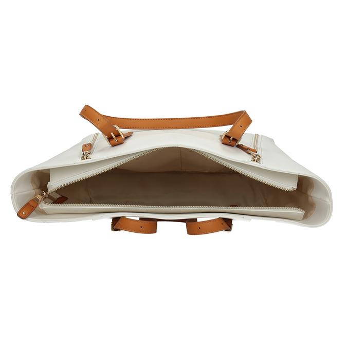 Kremowa torebka zdekoracyjnymi zamkami błyskawicznymi bata, biały, 961-1840 - 15
