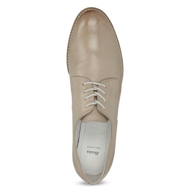 Skórzane półbuty damskie bata, beżowy, 526-8650 - 17