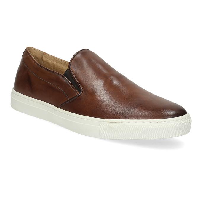 Skórzane slip-on męskie bata, brązowy, 836-4601 - 13