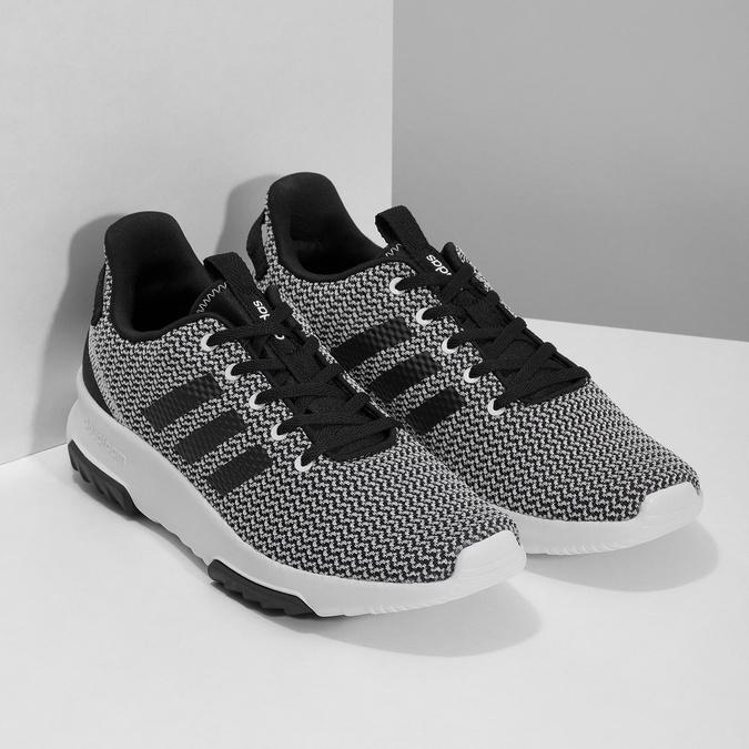 Czarno-białe trampki zwzorzystej dzianiny adidas, czarny, 809-1101 - 26