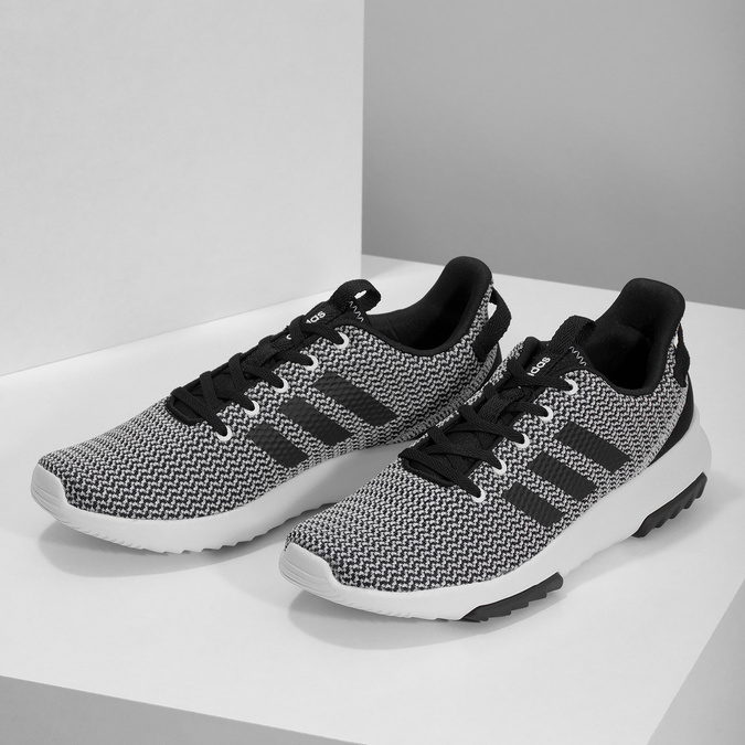 Czarno-białe trampki zwzorzystej dzianiny adidas, czarny, 809-1101 - 16