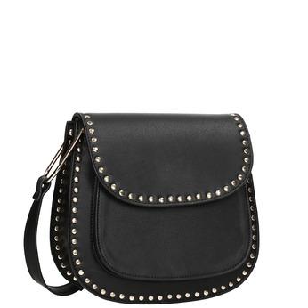 Czarna torebka typu crossbody zćwiekami bata, czarny, 961-6844 - 13