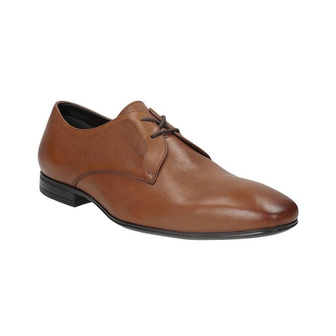 Brązowe skórzane półbuty typu angielki zfakturą bata, brązowy, 826-3945 - 13