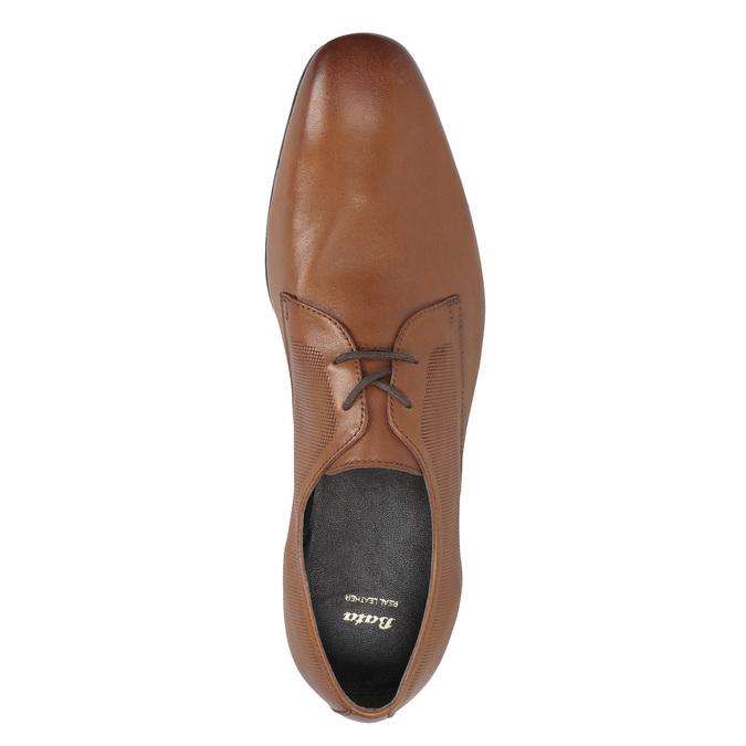 Brązowe skórzane półbuty typu angielki zfakturą bata, brązowy, 826-3945 - 17