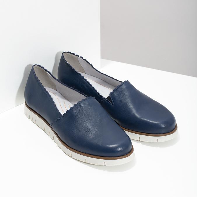Skórzane slip-on na elastycznej podeszwie flexible, niebieski, 536-9602 - 26