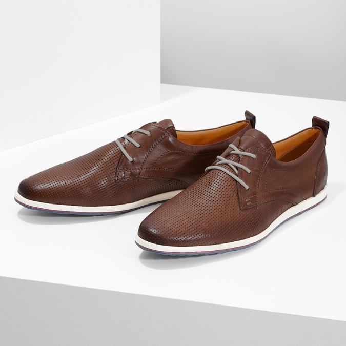 Skórzane buty sportowe na co dzień bata, brązowy, 824-4124 - 16