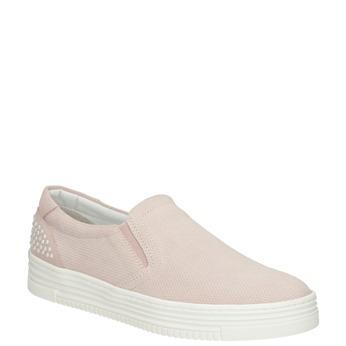 Skórzane slip-on damskie bata, różowy, 533-5600 - 13
