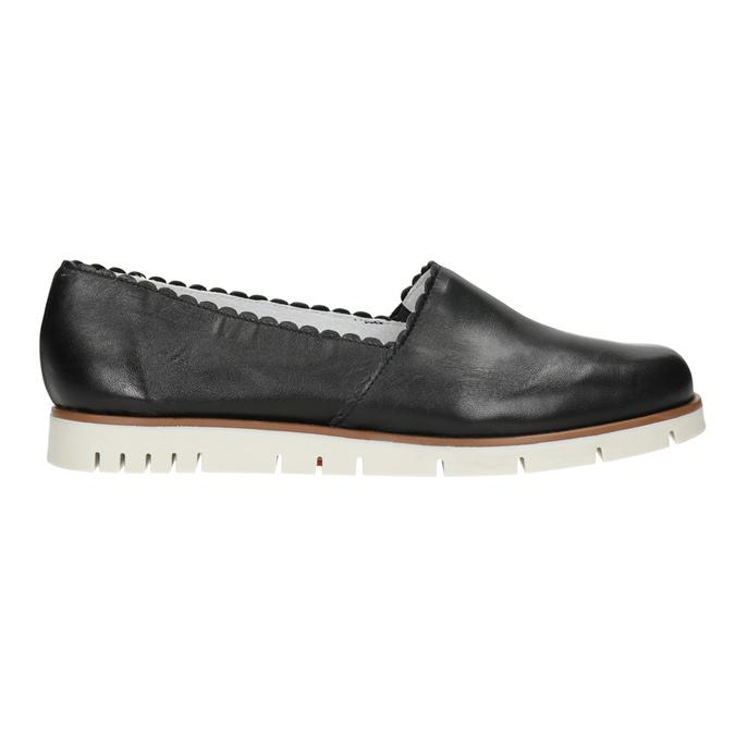 Czarne skórzane obuwie typu slip-on na kontrastowej podeszwie flexible, czarny, 536-6602 - 16