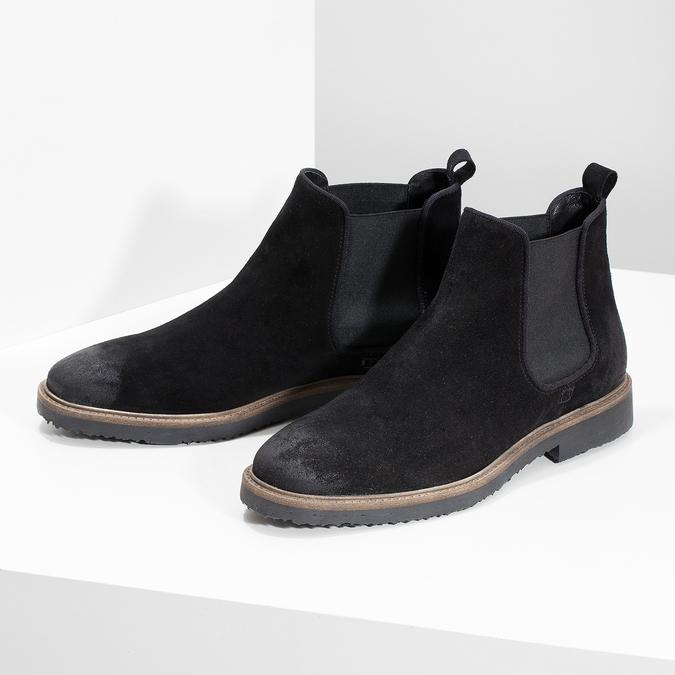 Zamszowe buty typu chelsea bata, czarny, 823-6628 - 16