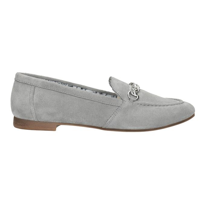 Szare skórzane mokasyny bata, szary, 513-2615 - 26
