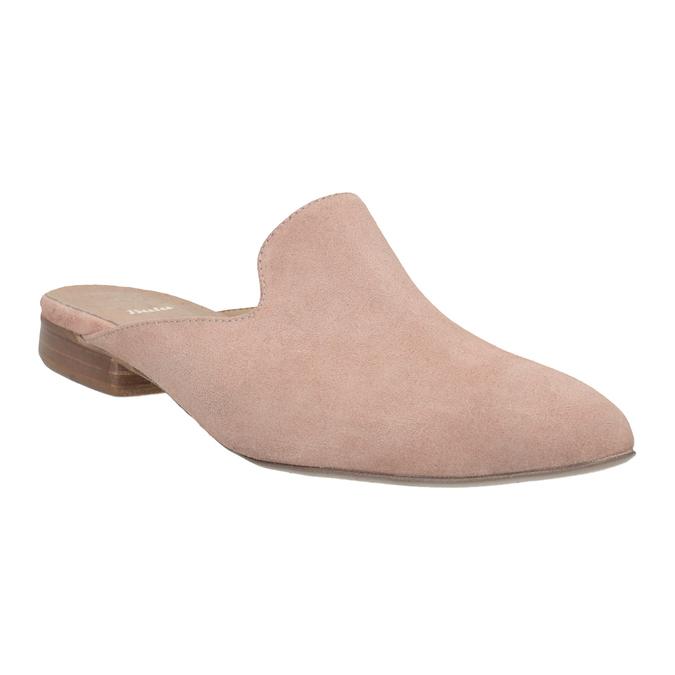 Skórzane mokasyny bez pięty bata, różowy, 516-5620 - 13