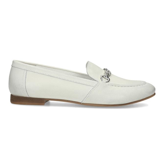 Skórzane mokasyny damskie zwędzidłami bata, biały, 516-1615 - 19