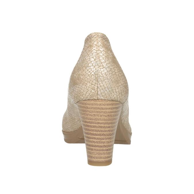Czółenka oszerokości H, zfakturą skóry wężowej bata, beżowy, 721-8618 - 16
