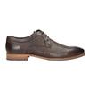 Brązowe skórzane półbuty zfakturą bata, brązowy, 826-4624 - 16