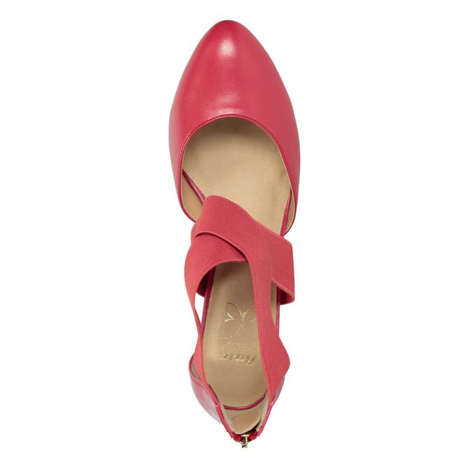 Różowe czółenka ze skóry insolia, czerwony, 624-5643 - 15