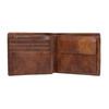 Skórzany portfel męski zperforacją bata, brązowy, 944-3192 - 15