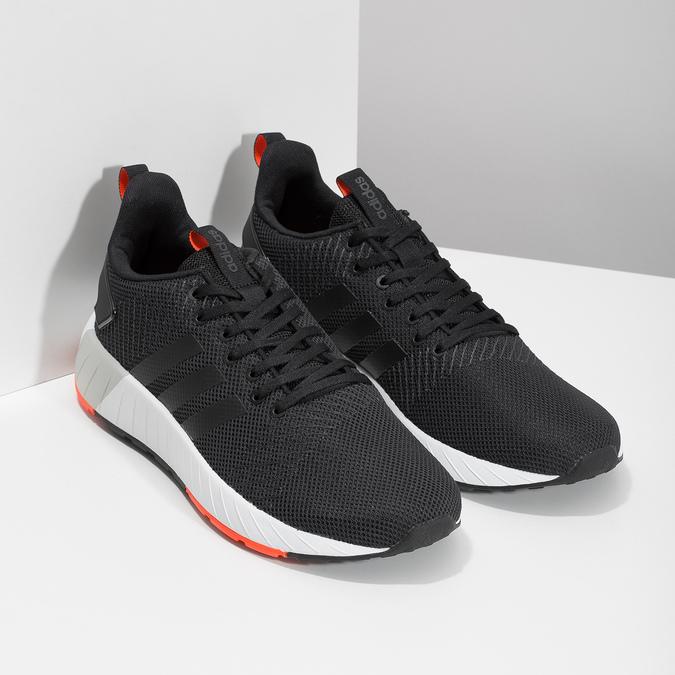 Czarne trampki męskie zpomarańczowymi detalami adidas, czarny, 809-6579 - 26