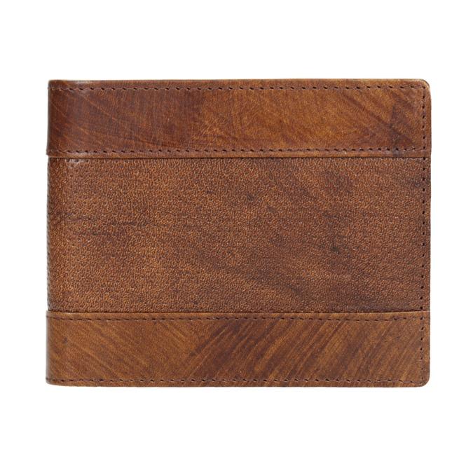 Skórzany portfel męski zperforacją bata, brązowy, 944-3192 - 26