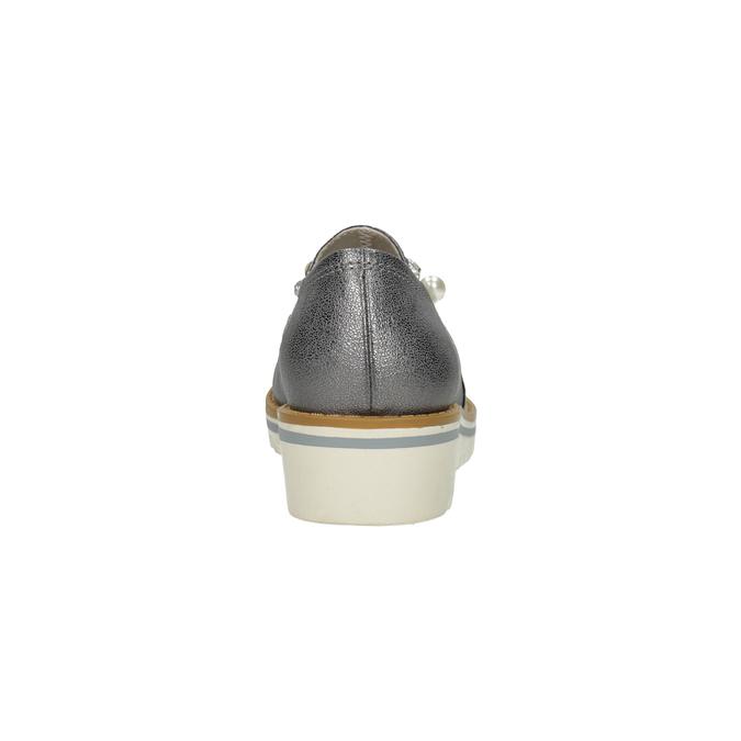 Srebrne mokasyny zperełkami bata, srebrny, 511-6610 - 15