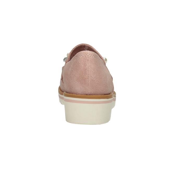 Mokasyny zperełkami, na platformie bata, różowy, 511-5610 - 15