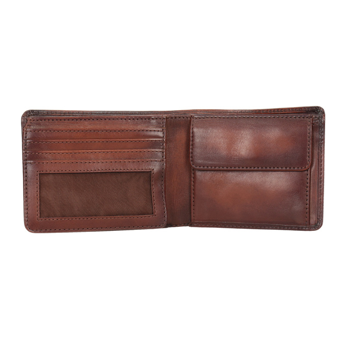Skórzany portfel męski zefektem ombré bata, brązowy, 944-3193 - 15