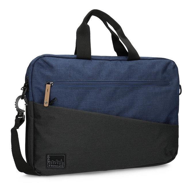 Czarno-granatowa torba na laptopa roncato, niebieski, 969-9698 - 13